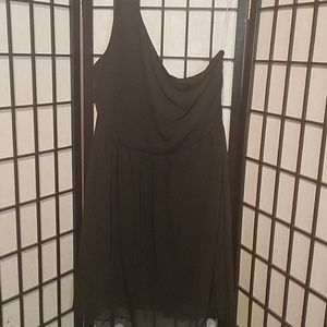 Black one shoulder dress with a lace bottom